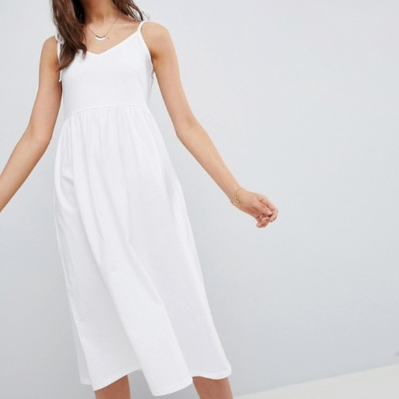 89e1ddfe586 ASOS White Midi Dress with Adjustable Tie Straps